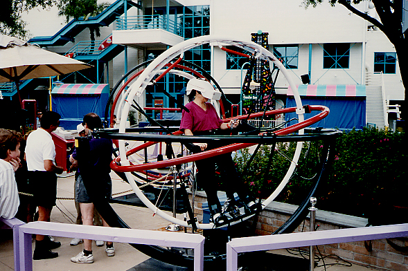 an early unique interface to virtual reality shown at an IAPPA Amusement Park conference c 1991