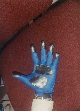 An early version of Dan Mape's Pinch Gloves showing the touch pads that enabled a huge array of gestural inputs for VR.