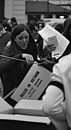 3*Sat, Nov 15, 1969<br /> *People: protester<br /> Subject: vietnam poster<br /> *Place: san francisco<br /> Activity: moratorium<br /> Comments: 200,000 at Golden Gate Park