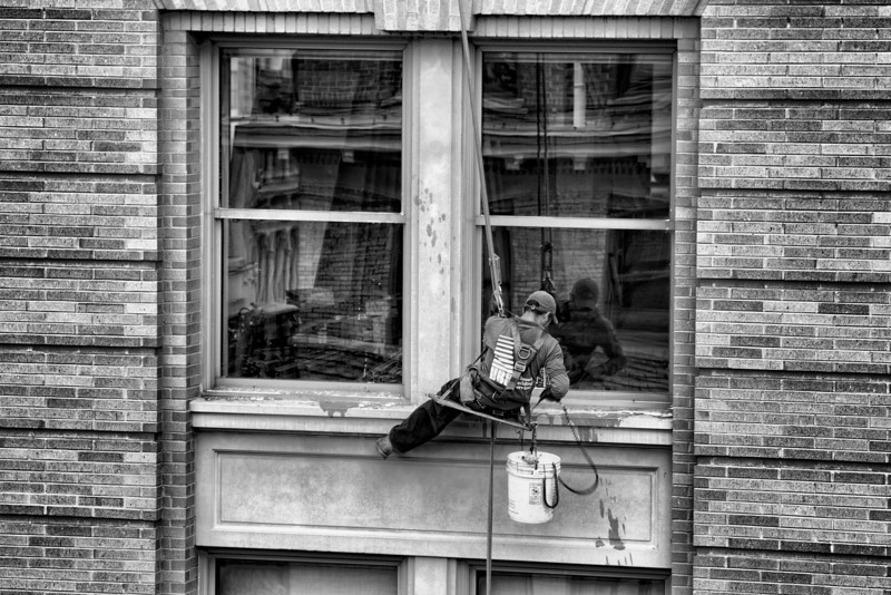 Washing Windows at Market Square