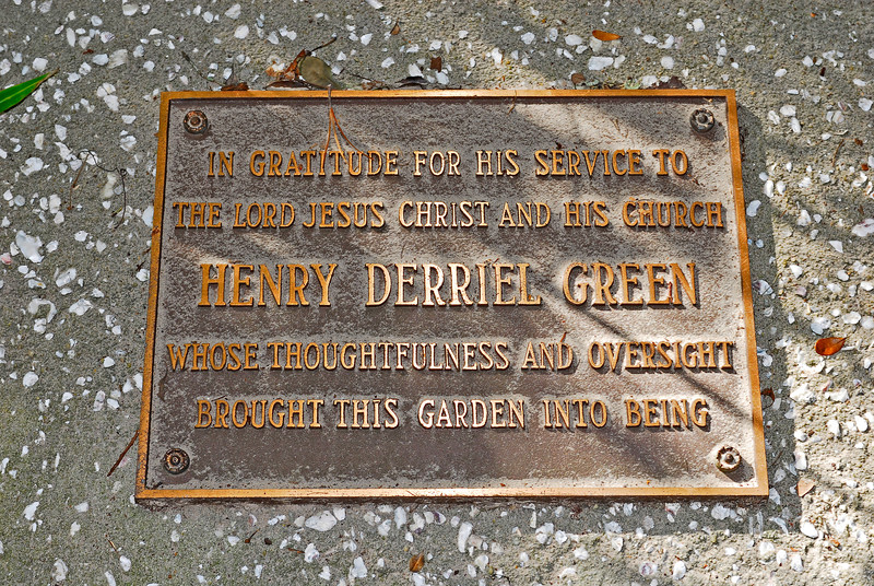 Plaque in gratitude to Henry Derriel Green at Christ Church Wesley Gardens on St. Simons Island, Georgia