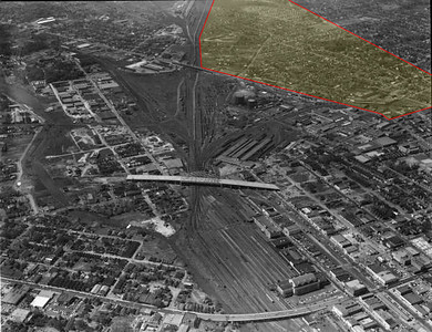 Downtown Jacksonville Florida aerial showing Moncrief railyard and Beaver Street.