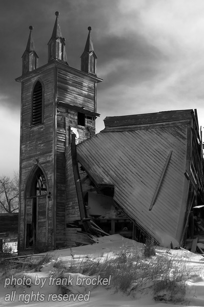 The old church at Laura, Saskatchewan has finally collapsed.  This used to be quite a beautiful church but it was abandoned years ago and left to its fate.