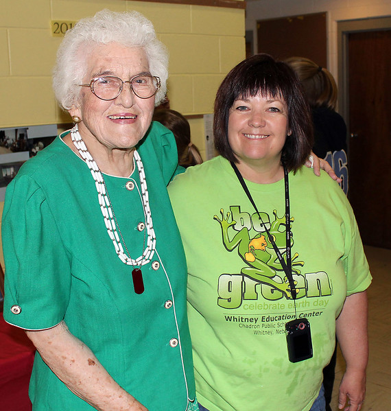 Mary Daniels and Terri Haynes pause for a picture.  Terri and her daughter Michelle were prime organizers of this special event, and Terri served as Mistress of Ceremonies.