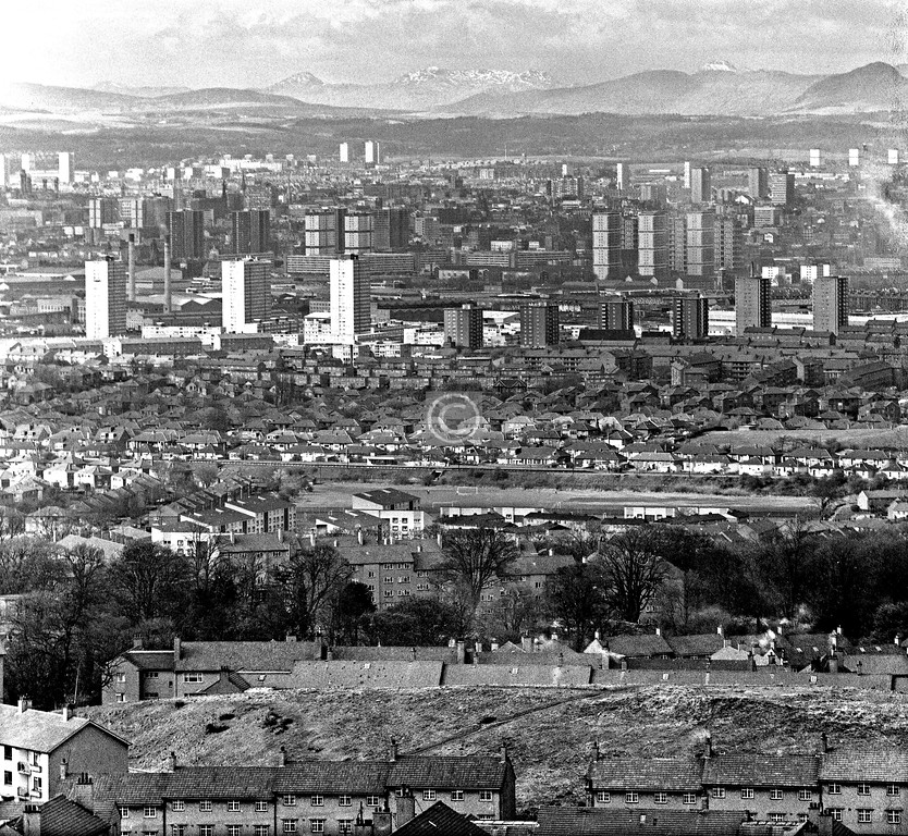 View north-northwest from Cathkin Braes.  April 1976