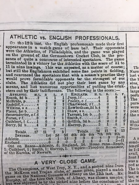 Second Article on Base Ball Game, US vs England, played at Germantown CC