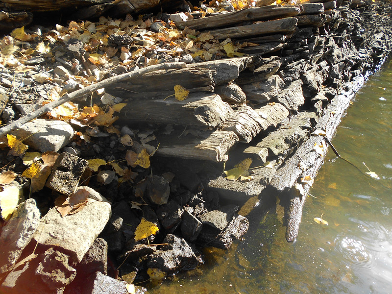 Wood board retaining wall in the old bassett's Creek channel near the mouth into the Mississippi River. photo taken 2012.oct.3<br /> <br /> This is the only location where I have come across this unusual wood board style of retaining wall construction. Does anyone have any information as to the date this retaining wall was constructed? Please email me at d.s.55405@hotmail.com if anyone has any information on this retaining wall - or, on any retaining wall built in this manner.<br /> <br /> Here is my guess as to why this style of construction was done here. My guess is that this style of retaining wall was chosen to deal with soft mucky soils. The boards may have been placed or pounded nearly horizonally into the soft soils. This might have maintained a stability not achievable with stone, concrete or blocks. At one time, this part of Minneapolis contained a number of lumber mills. I would guess that there may have been an abundance of odd shaped mill reject boards around this area for building a retaining wall like this. Anyone please email me to confirm or correct my guess on this retaining wall.