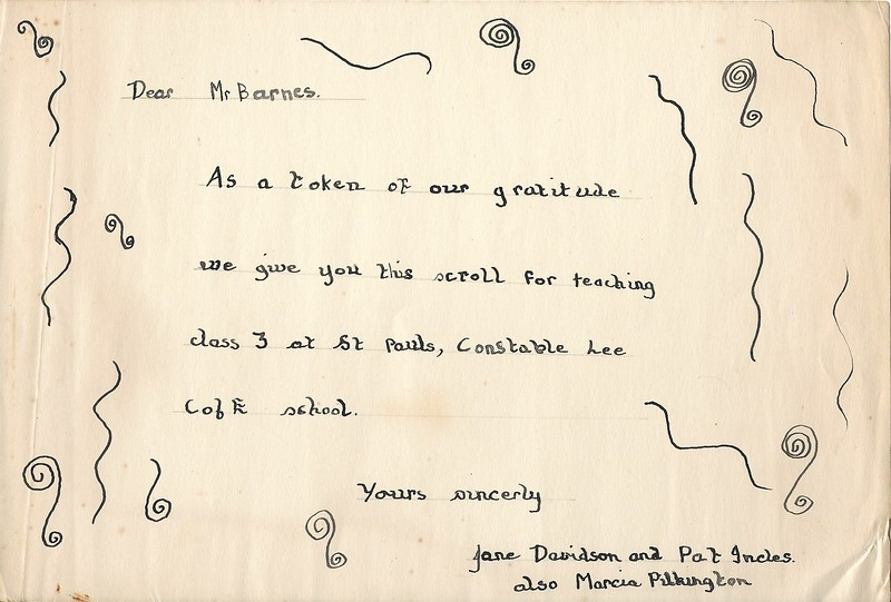 St Paul's Colin Barnes scroll from Jane Davidson Pat Incles and Marcia Pilkington