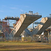 November 16, 2004:  Each new bridge is supported by two rows of V-shaped piers consisting of multiple precast sections that are then assembled to create the V's.  These piers are on land at the entrance to Jones Point Park in Alexandria.