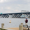 April 30, 2008:  Everything in place on the river for both new bridges -- as seen from Ford's Landing upstream.