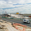March 23, 2006:  The first bridge is nearing completion and a sound deflecting wall has been erected on the right side to provide some sound protection for nearby apartment houses..