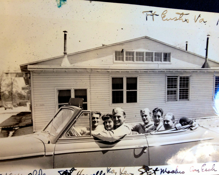 This is at Ft. Eustace, VA, which may be where Kenneth McClave took officer training. Here he is driving his bride and friends in his or his mother's convertible.