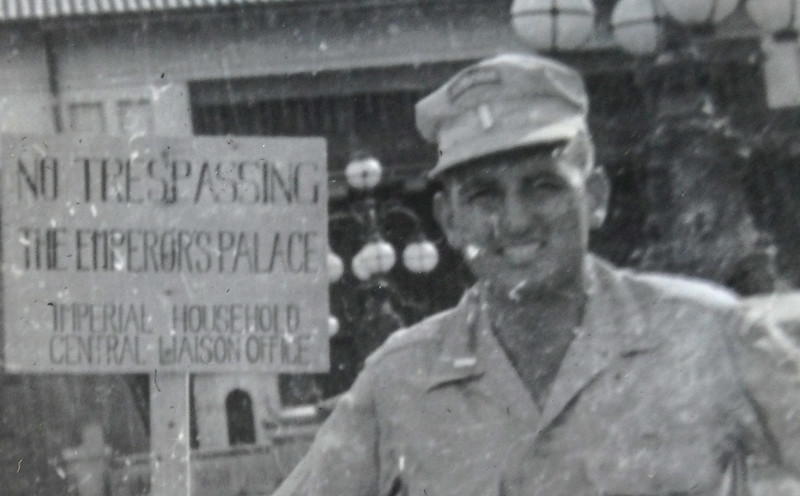 Lt. McClave outside the Emperor's Palace in Tokyo in September 1945.