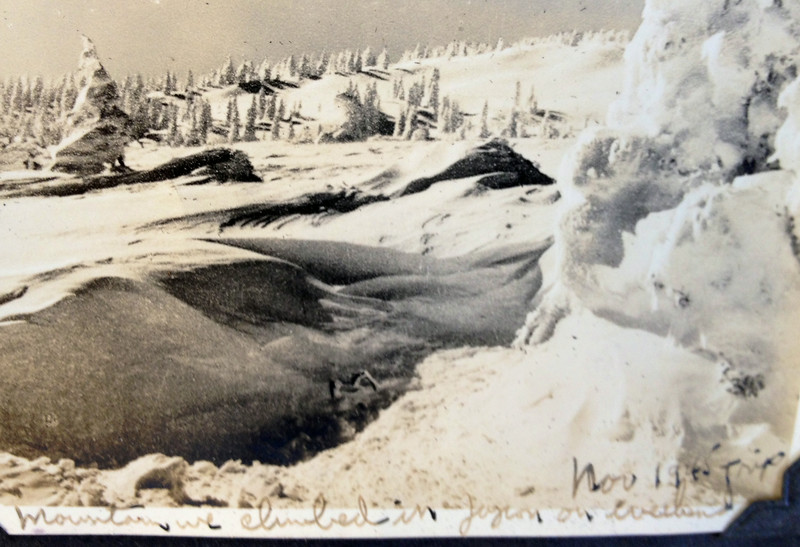 Always interested in skiing an hiking and the mountains, Lt. McClave with his friends climbed Mt. Fuji during time he was in Japan from September to mid-December 1945. This was an area in which he hiked. Perhaps it is toward the summit of Mt. Fuji.