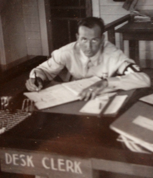MP McClave as a clerk. It must be that he has not yet applied for Officer Cadet School. He has his wedding band, meaning it is after April 11, 1942.
