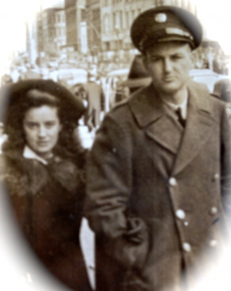 This looks like an early photo of Kenneth and Catherine McClave, perhaps at a time when they might have had to be apart. LIke so many other couples, they got married during the war in 1942 on April 11. This could be Jersey City or Rochester.