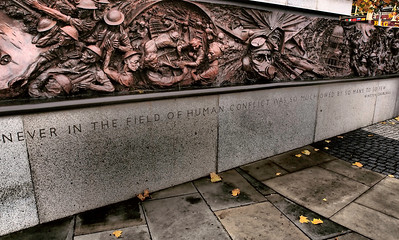 A 'World War II' monument on the bank of the Thames river in London.  Photo: Martin Bager.