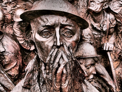 Close-up of a 'World War II' monument on the bank of the Thames river in London.  Photo: Martin Bager.