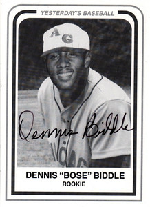 """Dennis """"Bose"""" Biddle was born in Magnolia, Arkansas on June 24, 1935.    He played for the Chicago American Giants from 1953 - 1954.  He was known as """"The Man who beat The Man who beat The Man"""". Gerald (Lefty) McKinnis, one of the few pitchers to beat Satchel Paige.  Satchel Paige was then out pitched by this 17 year old."""