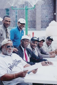 """This site is dedicated to all the Negro Baseball players that played in the Negro Baseball League from 1920 to 1960.  Living legends: fomer Yesterday's Negro League Baseball Players:  Sitting left to right:  Frank Williams,  John """"Mule"""" Miles,  Gordon """"Hoppy"""" Hopkins,  Mr. Porter,  Denise """"Bose"""" Biddle (President of Yesterdays Negro Baseball League Players)  Standing Greg Williams and  Michael Kinard.   For the complete History of the Negro Baseball League, visit ALL SPORTS McDONALD's   6574 N 76th Street., Milwaukee, WI 53223.  For field trips, call (414) 760-8951."""