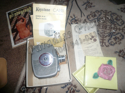 Old movie camera and rose dish