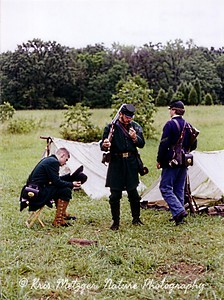 Union troops encampment (reenactors), Gettysburg PA. June 1998.