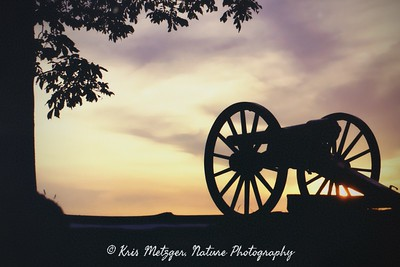 Sunset over the battlefield, Little Round Top, Gettysburg PA.