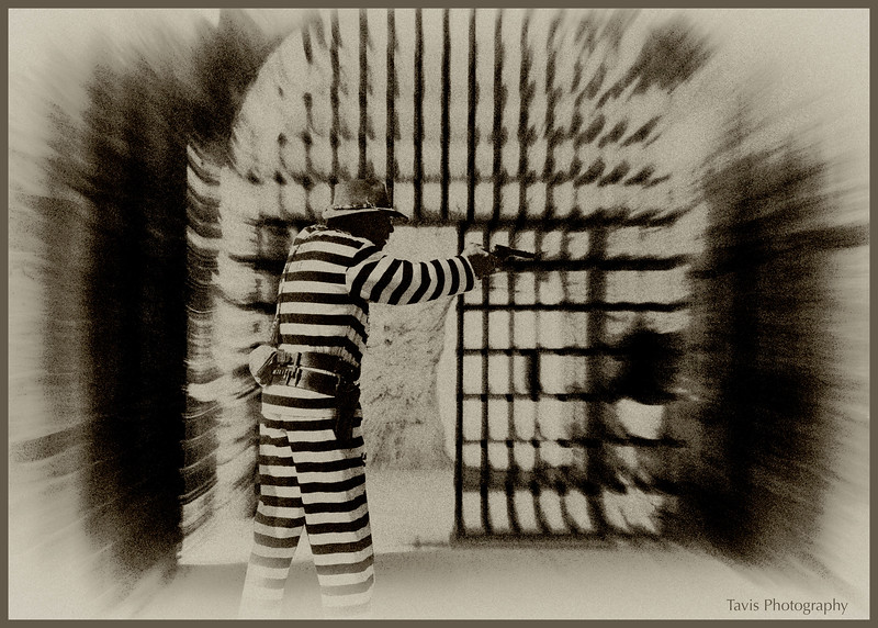 'JAIL BREAK'  This is a result of merging two photos.  Can you find the originals?