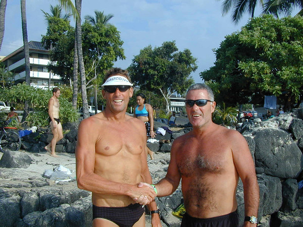 Hanging with Dave Scott at White Sands Beach. Dave Scott won Ironman 8 times...I just wanted to finish.