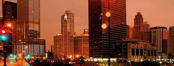 Rainy Night Landscape Chicago, IL August 3, 2010