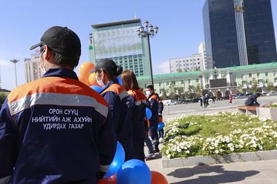 """2021 оны есдүгээр сарын 15. Монголын орон сууц, нийтийн аж ахуйн үйлчилгээний ажилтны ҮЭ-ийн холбооноос """"ОСНАА орхигдуулж болохгүй"""" акц зохион байгууллаа. ГЭРЭЛ ЗУРГИЙГ И.НОМИН/MPA"""
