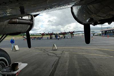 """Consolidated B-24J Liberator """"Witchcraft"""" from under the wing of the Boeing B-17G Flying Fortress """"Nine O Nine"""""""