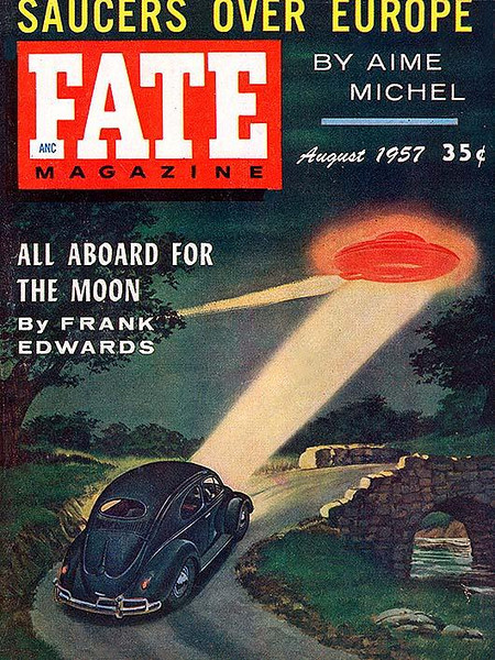 FATE MAGAZINE<br /> 'All Aboard for the Moon' <br /> Aug., 1957<br /> Vol 10 # 8<br /> 130 pgs.<br /> Pulp