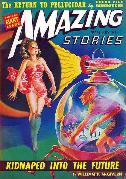 AMAZING STORIES<br /> 'Kidnaped into the Future' <br /> Feb., 1942<br /> Vol. 16 # 2<br /> 242 pgs.<br /> Pulp