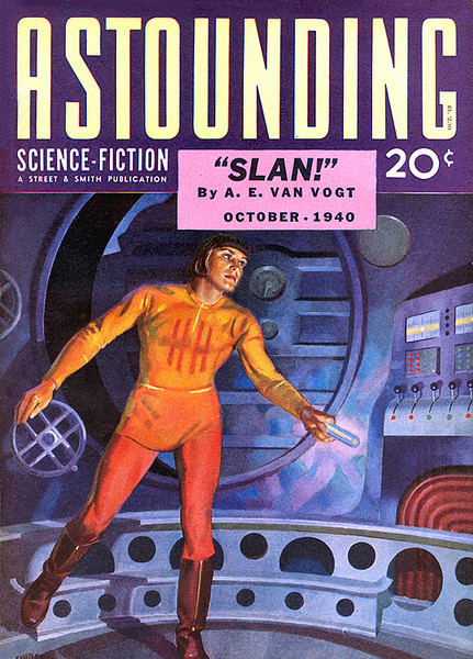 ASTOUNDING SCIENCE-FICTION<br /> 'Slan!' <br /> Oct., 1940<br /> Vol. XXVI # 2<br /> 162 pgs.<br /> Pulp<br /> <br /> NOTE: This Pulp contains the first publication of the story,  'FAREWELL TO THE MASTER', by Harry Bates, which was later made into the classic Sci-Fi movie, 'THE DAY THE EARTH STOOD STILL'.
