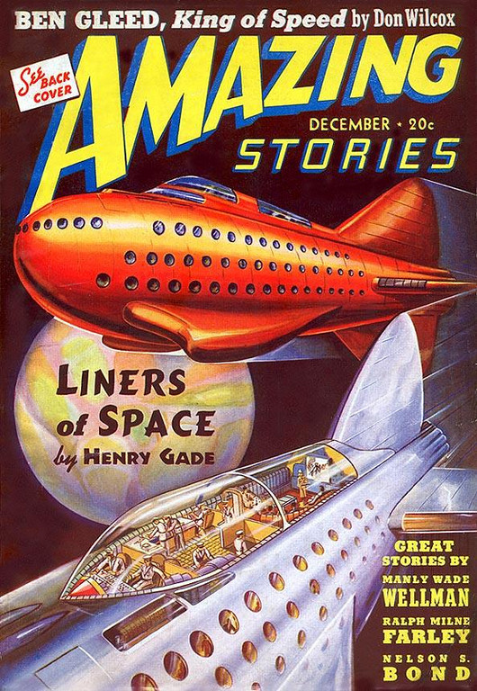 AMAZING STORIES<br /> 'Liners of Space' <br /> Dec., 1939<br /> Vol. 13 # 12<br /> 146 pgs.<br /> Pulp