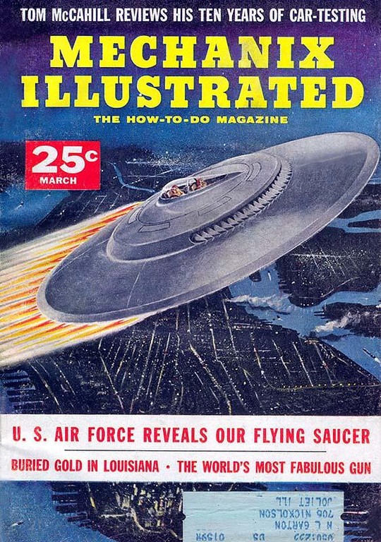 MECHANIX ILLUSTRATED<br /> 'U.S. Air Force Reveals Our Flying Saucer' <br /> (With Blue Prints enclosed)<br /> Mar., 1956<br /> Vol 52 # 35<br /> 224 pgs.<br /> Magazine