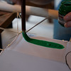 Making Painted Silk Banners painting small tester on small frame - light then dark