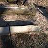 Chainsawed slabs out of the logs