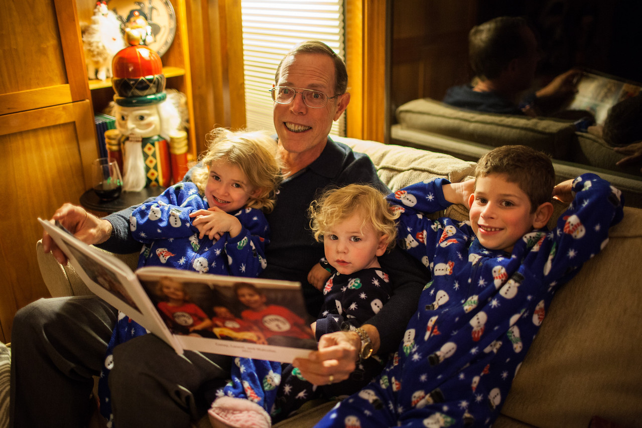Day 359/1089 - Things 1, 2 and 3 enjoy a Christmas Eve story with Grandpa before heading home to bed.