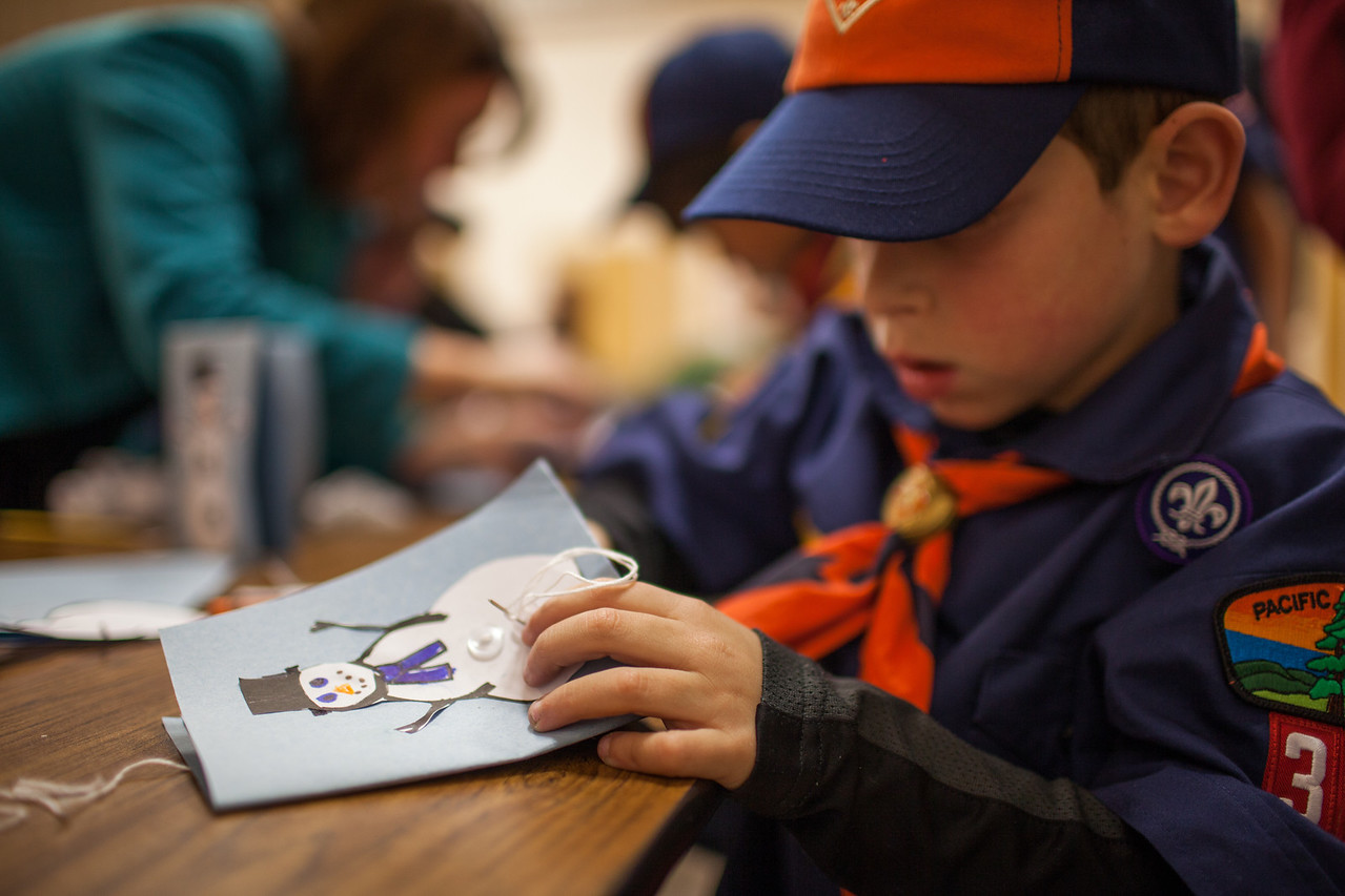 Day 354/1084 - The Tigers made holiday cards to send to the local senior center at or meeting today.  They even learned to sew buttons on their snowmen with needle and thread.