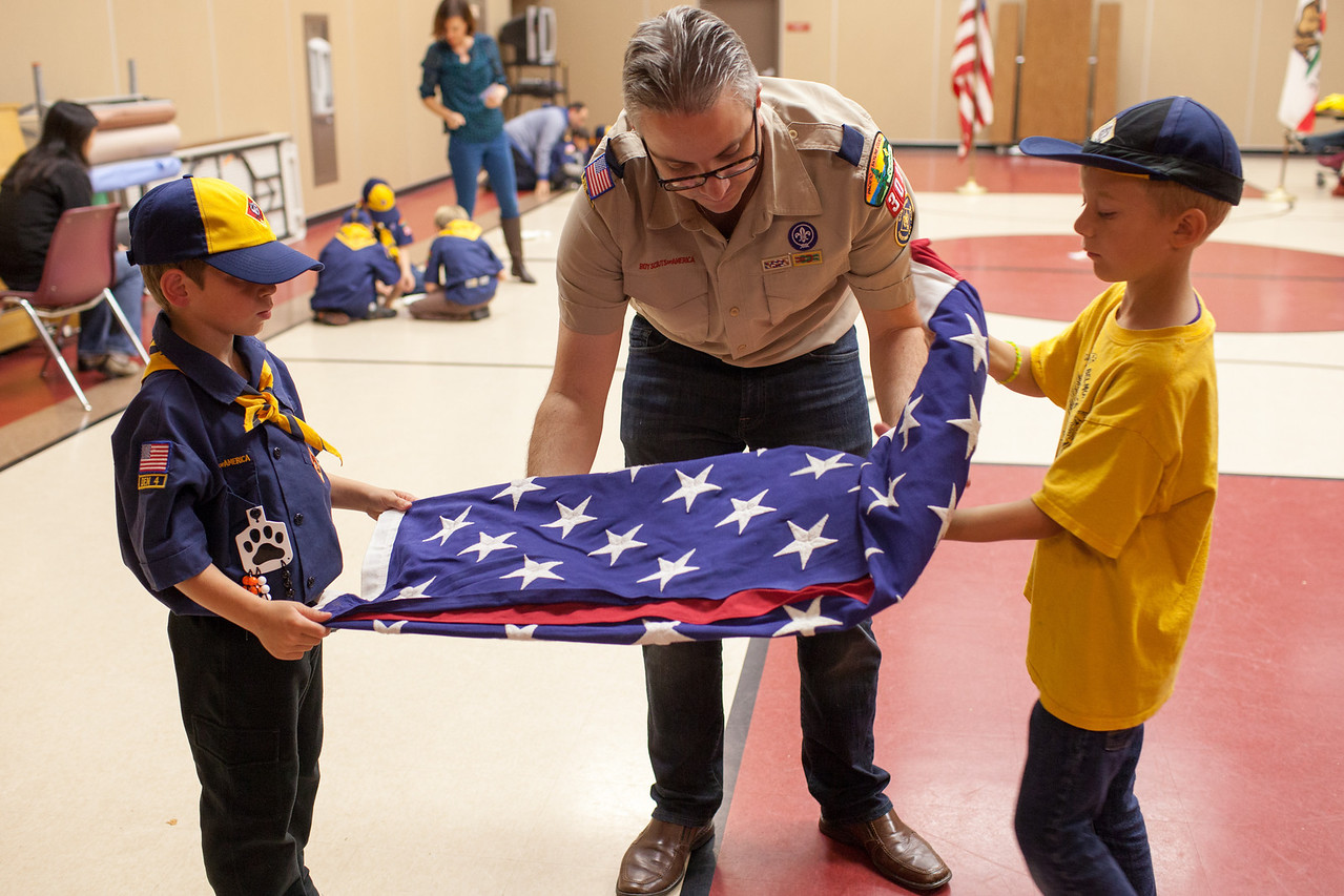 Day 323/1418 - Cub Scout night.  We're practicing flag care and building towers with marshmallows and toothpicks.
