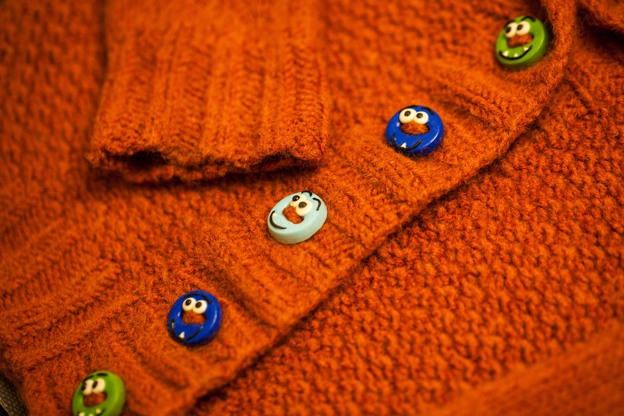 Day 319/1413 - Malcolm sweater is all done. Gotta love the buttons Nicole finds for these.