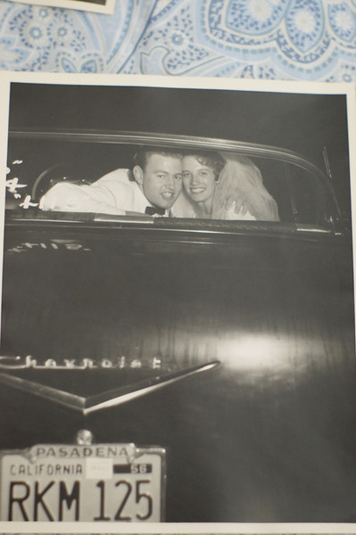 Inspiration for the build - My Mom and Dad in the Bel Air on their wedding night.  Did not realize at first but this shot had great clues for the original interior seat coverings!