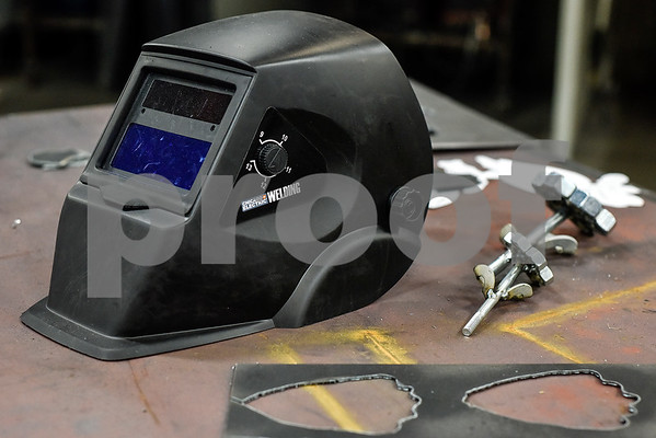 A welding hat sits on the table during a sculpture welding class at Tyler Junior College's west campus in Tyler, Texas, on Thursday, June 22, 2017. The class introduces students to the basics of welding and allows them to work on their own creative projects. (Chelsea Purgahn/Tyler Morning Telegraph)