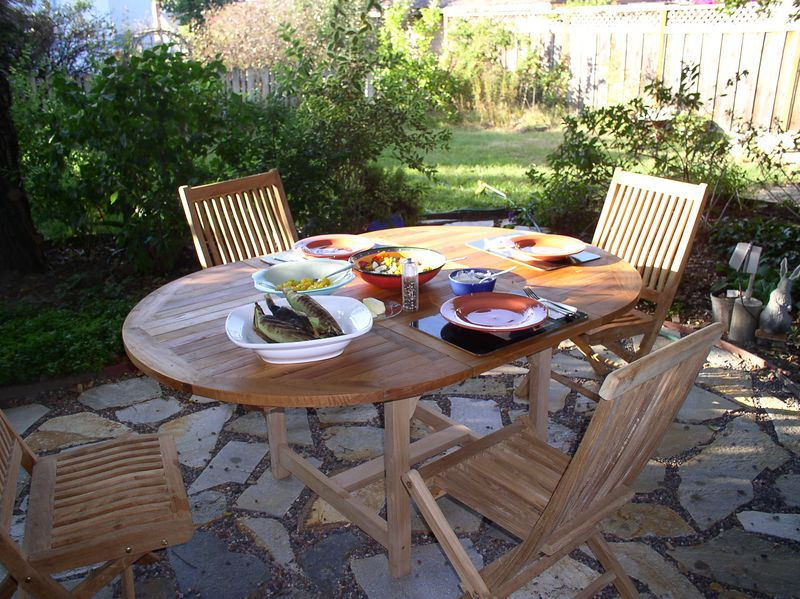 New table on the new flagstone patio. 2005.
