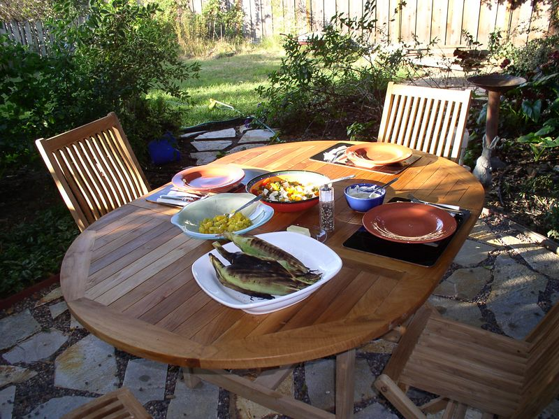 First dinner outside since the flagstone went in. 2005.