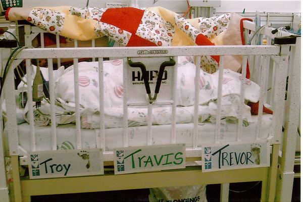 Their first room together.  They were about 2 weeks old here and Trevor and Travis had graduated to a crib.  A few times a day they would put Troy in with them.   Trevor and Travis came home after 16 days and Troy finally came home after 2 long months.<br /> What a crazy ride it's been!
