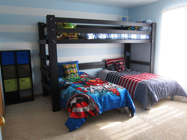 After!!  This loft bed is so awesome.  Super sturdy and with hardware and stain (that's right, it's stain, not paint!) was about $120.  It's the minwax water based stain, tinted onyx.  The platform beds were $15 each to make.  <br /> The comforters are all from walmart, all $30 or less.<br /> Just a little info, 10' boards can fit in a minivan easily.