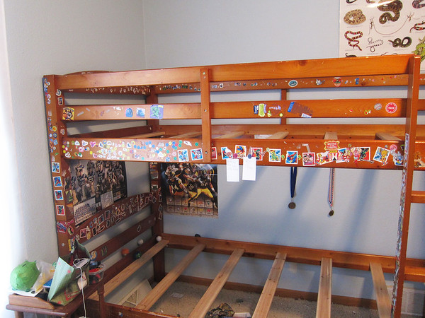 I won't miss this!  The little papers hanging from the top bunk, I know you can't read them, but in case you were wondering, Troy is selling bat rings for 10 cents each and his store is open at the moment.  FYI-I have no idea what bat rings are.